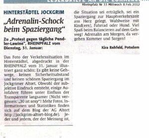 Rheinpfalz Leserbrief zum Spaziergang im Hinterstädtel